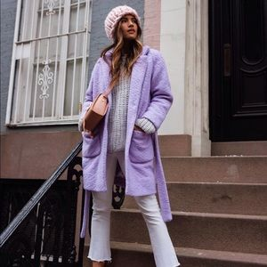 Ganni Fenn wrap coat in Lilac